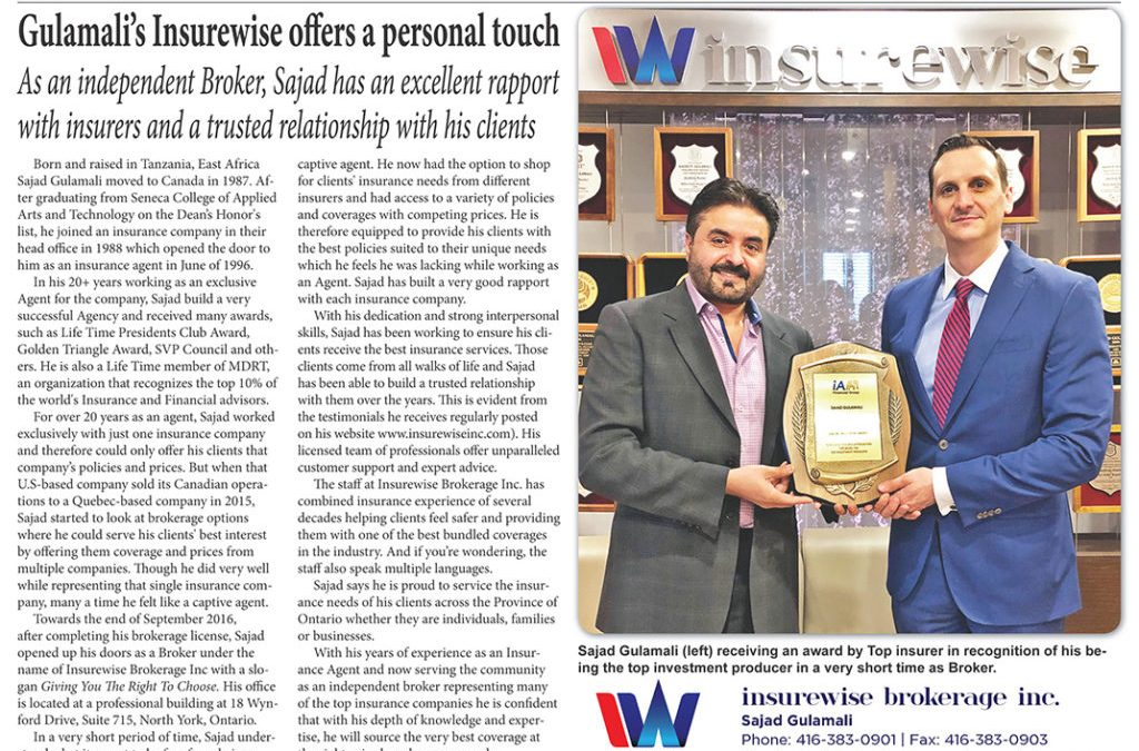 Gulamali's Insurewise offers a personal touch